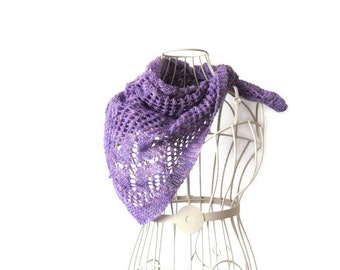 Purple - pink lace scarf / shawl / neckerchief - hand knitted in merino yarn /  hand dyed , ideal wedding accessory