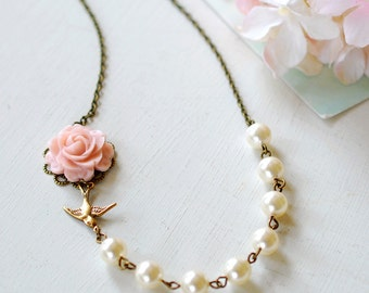 Blush Pink Rose Flower Brass Swallow Bird Ivory Cream Pearls Wedding Bridal Necklace. Bridesmaid Accessory, Maid of Honor Gift