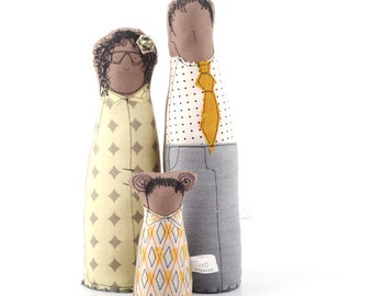Soft sculpture Family dolls , ooak , art doll -  African father mother and daughter, dressed in geometric gray yellow  -timo handmad eco