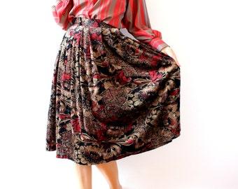 vintage floral print velvet look midi skirt / pleated skirt with pockets / taupe, black, eggplant, red