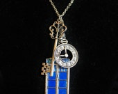 Doctor Who Tardis inspired Police Call box style Charm Necklace w/ Large Silver Key & Cameo, Clock or Union Jack