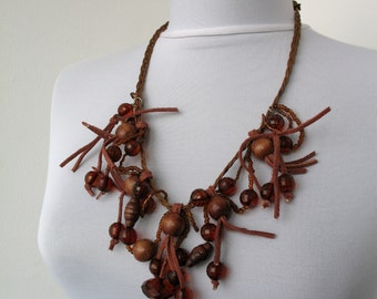 CLEARANCE SALE - Brown beaded necklace