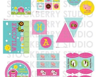 Girl Farm Birthday Party Decorations Printable - Pink Barnyard Birthday Decorations - Farm Animals - Petting Zoo Party - Instant Download