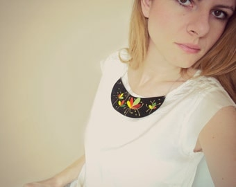Black Leather Bib Necklace, Hand Painted Statement Necklace, Leather Collar, Floral Painting, Leather Jewelry by BijuBrill