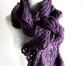 Scarf Dimensional Sculptural statement piece - Merlot Merino Super Chunky - extra long