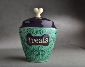 Dog Treat Jar Made To Order Curls Teal and Purple  by Symmetrical Pottery