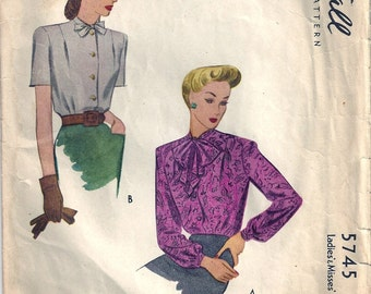 Vintage 1940s McCall Sewing Pattern 5745 Misses Blouse Size 12 Bust 30