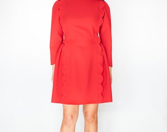 Red scalloped dress 50s 60s dress vintage mod look custom made