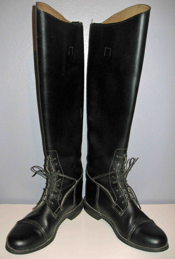 Vintage Riding Boots Tall Black Leather Horseback Equestrian