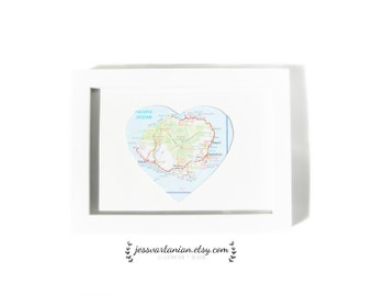 Mother's Day One Heart Map Location in a White Frame. 5x7.
