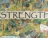 STRENGTH  ACEO / ATC mini collectible print -Folk art, Inspirational Art, Motivational Art, Background and Texture