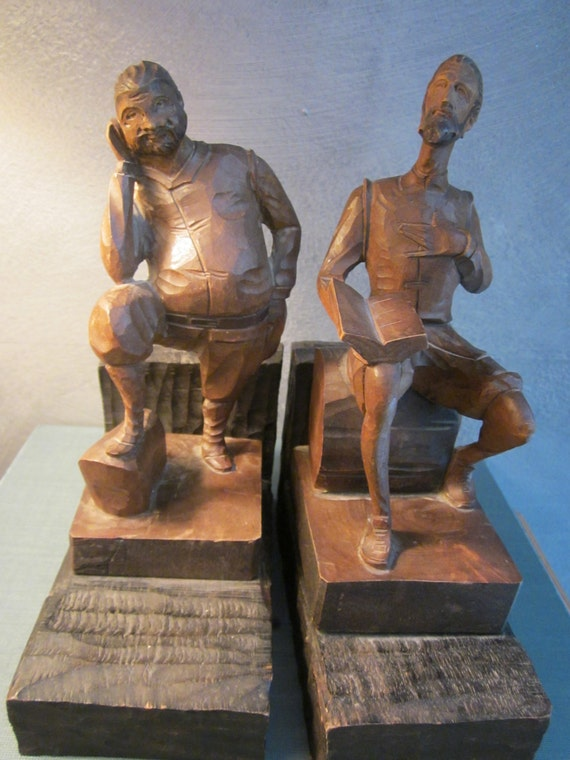 Don Quixote and Sancho Panza Spanish Bookends - Man of La Mancha Figures - Hand Carved Wood Characters