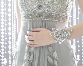 Wedding Corsage - Bridesmaid Corsage - Wrist Corsage, Silver Corsage, Prom Corsage, Prom Dress Accessory, Flower Corsage