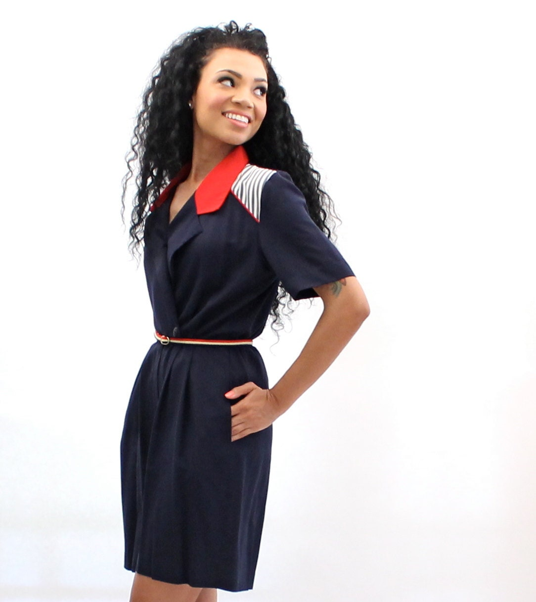 vintage romper navy blue and white womens clothing 80s