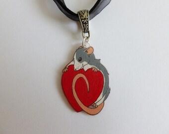 Fancy Rat Necklace Heart Rat Roan Husky Dumbo Rat Charm Choker