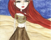 big eyes, Desert Queen, tribal, horned goddess, red blue tan, redhead