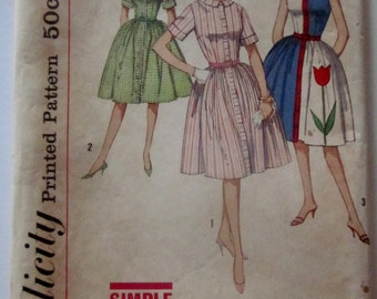 Simplicity 4326 Womens 1950s Full Dress with Gathered Skirt Sewing Pattern Bust 32
