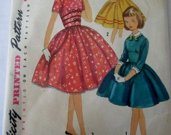 Simplicity 1737 Girls 50s Party Dress Sewing Pattern Size 8 Breast 26
