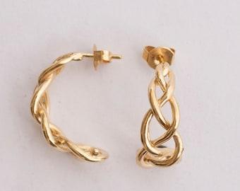 Braided Earrings - 14K Gold Earrings, Solid Gold Stud Earrings, Small Earrings,Bridal Earrings, vintage,antique,Art Nouveau, Celtic earrings