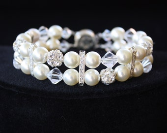 PEARL  BRIDAL  BRACELET  with Rhinestones and Lots of Bling, Wedding Bracelet, Double Strand Bracelet, Rhinestone Bracelet