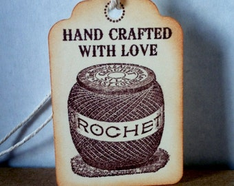 Hand Crocheted Tags hand stamped hand crocheted tags crocheted labels crocehted tags Set of 8