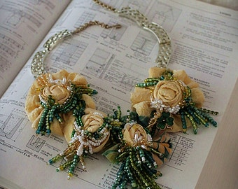 GET LUCKY Beaded Yellow Green Textile Statement Necklace