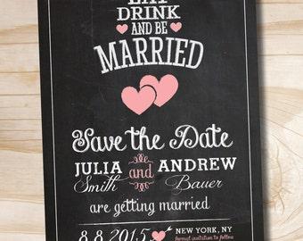 CHALKBOARD HEARTS Blackboard Chalkboard save the date wedding Invitation - You Print