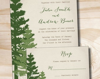 RUSTIC PINE TREE Wedding Invitation and Response Card Invitation Suite