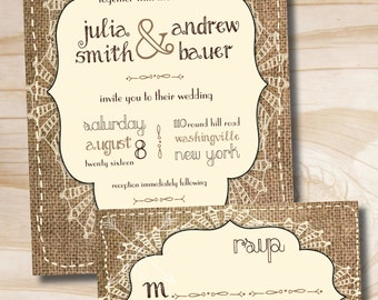 BURLAP SHABBY CHIC Rustic Wedding Invitation and Response Card - Printable Invitation