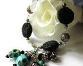 Turquoise Skull Charm Bracelet, Beadwork Bracelet, Charm Bracelet, Tennis Bracelet, 2014 Trends, Birthday, Day of the Dead, Halloween, Goth