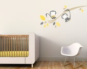 Monkey Nursery Wall Decal Kids Wall Decal Gray Monkey Decor Baby Boy Nursery Decor Yellow Nursery. Branch with Monkeys Children Wall Decal