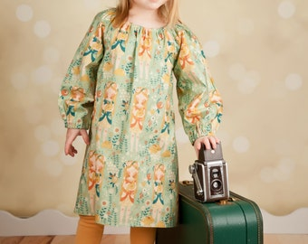 Organic Cotton Long Sleeve Peasant Dress for Girls - Whimsical Print - Bunny- Organic Clothing -  Eco Friendly