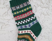 Christmas stocking hand knit in forest green with FREE U.S. SHIPPING vibrant colors and patterns
