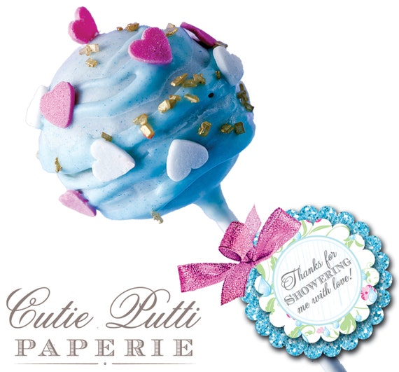 """April Showers Party Favor Tags 2""""x 2"""" by Cutie Putti Paperie"""