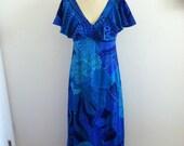 Vintage Blue Floral  Barkcloth Hawaiian Dress