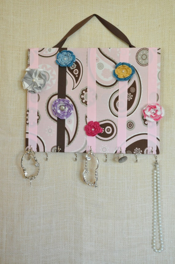 JEWELRY ORGANIZER, Jewelry Bow Board- Hair Bow Organizer-Large Pink Paisley- 11x14 inches, 11 Large Hooks