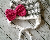 Stripe Big Bow Beanie in White, Gray and Hot Pink Available in Newborn to 5 Year Size- MADE TO ORDER