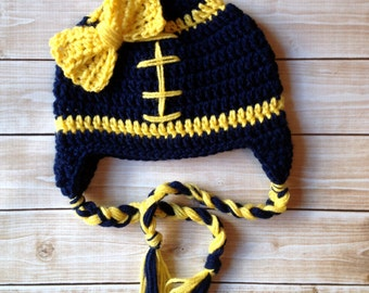 Little Miss Football Beanie in Navy Blue and Yellow- Michigan Inspired Beanie Available in Newborn to 5 Years Size- MADE TO ORDER