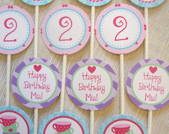 Tea Party Birthday Cupcake Toppers (Set of 12)