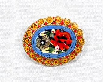SALE Italy Micro-Mosaic Pin Brooch , Beautiful Floral Design, Red,Yellow, White, Blue, Green