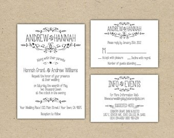 Vintage Wedding Invitation and RSVP -Printable DIY. printed country chic (1054)