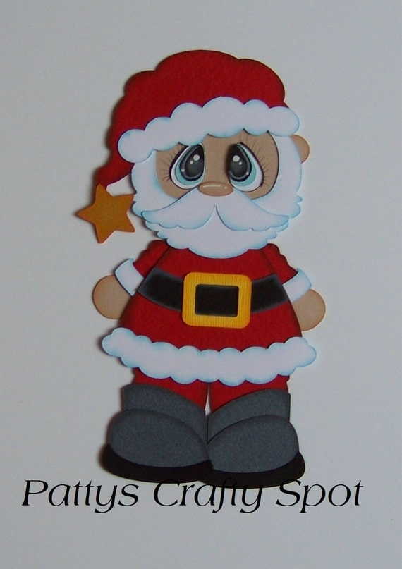 Items similar to bobble buddies santa christmas paper - Adornos de papa noel ...