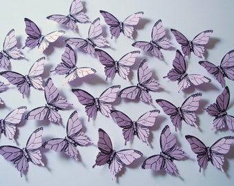 25 Light Purple Elegant Butterfly scrapbook embellishments - No1008