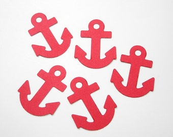 20 Large Red Anchor die cuts punch confetti scrapbook embellishments - No1032
