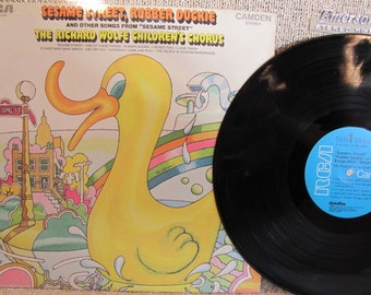 "Vintage ""Sesame Street, Rubber Duckie and Other Songs from Sesame Street"" Children's Vinyl Record Album - Richard Wolfe Children's Chorus"