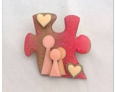 Vintage Puzzle Brooch - People Pins by Lucinda - hearts - pink - red - beige - rose - people's pins - puzzle piece - valentine