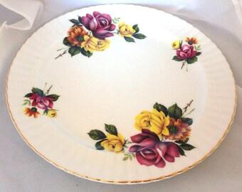 Royal Windsor English Fine Bone China Vintage Sandwich tea plate - Pink and Yellow Roses - maroon gold magenta burgundy green