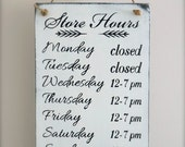 Business Hours Sign, Custom Sign, Store Hours Sign, Boutique Sign, Wall Art, Wood Sign, Vintage Sign