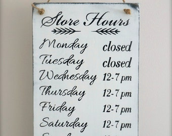 Business Hours Sign, Custom Sign, Store Hours Sign, Wall Signs for Business, Boutique Sign, Wall Art, Wood Sign