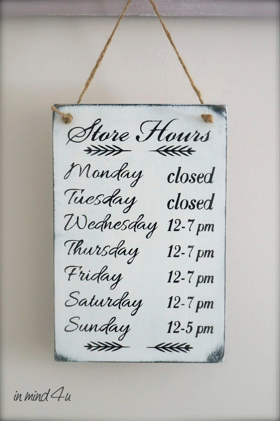 Business Hours Sign Custom Sign Store Hours Sign Wall Signs